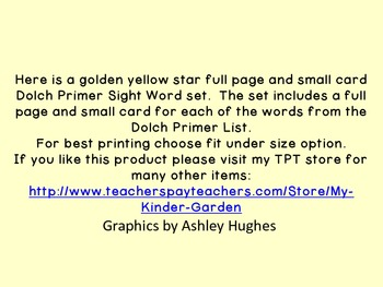 Golden Yellow Dot Star  Dolch Primer Sight Word Flashcards and Posters