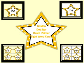 Golden Yellow Dot Star  Dolch Primer Sight Word Flashcards