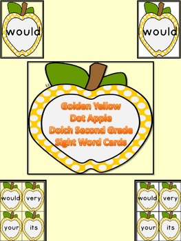 Golden Yellow Dot Apple Dolch Second Grade Sight Word Flas