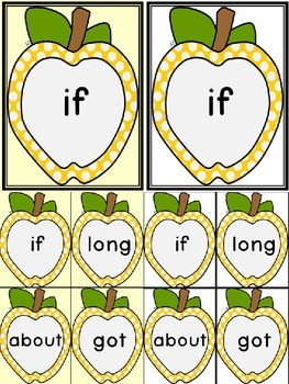 Golden Yellow Dot Apple Dolch Third Grade Sight Word Flashcards and Posters