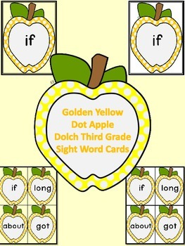 Golden Yellow Dot Apple Dolch Third Grade Sight Word Flash