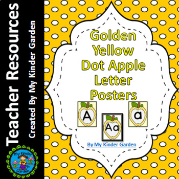 Golden Yellow Dot Apple Full Page Alphabet Letter Posters