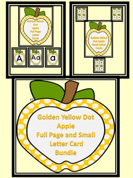 Golden Yellow Dot Apple Letter Flashcards and Posters Bundle