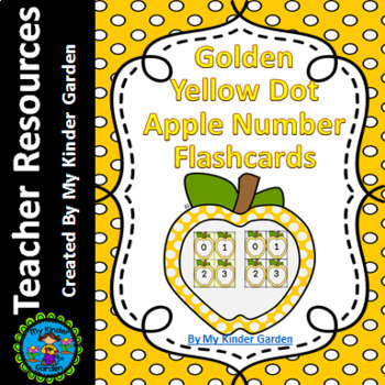 Golden Yellow Dot Apple Math Number Flashcards 0-100