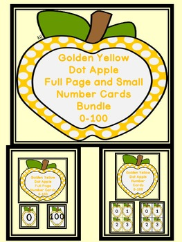 Golden Yellow Dot Apple Number Flashcards and Posters Bundle 0-100