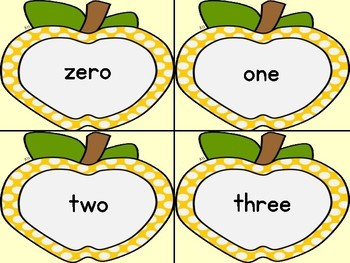 Golden Yellow Dot Apple Number Word Flashcards Zero To One Hundred