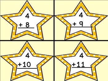 Golden Yellow Dot Star Addition Flashcards 0-12
