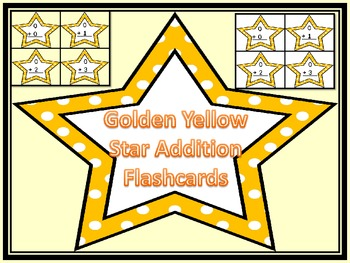 Golden Yellow Dot Star Addition Flashcards 0-12