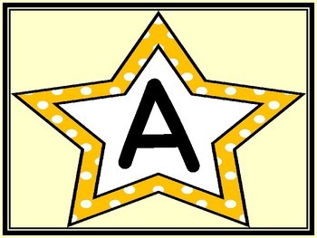 Yellow Dot Star Alphabet Letter Posters / Word Wall Headers