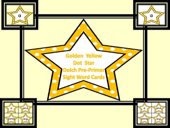 Golden Yellow Dot Star  Dolch Pre-Primer Sight Word Flashc