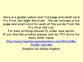 Golden Yellow Dot Star  Fry First 100 Sight Word Flashcards and Posters