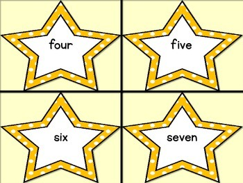 Golden Yellow Dot Star Number Word Flashcards Zero To One Hundred