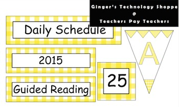 Golden Yellow Gingham Schedule Cards * Labels * Pennants * Classroom Decor