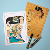Golden Girls inspired by Gustav Klimt (coloring pages, art activity, posters)