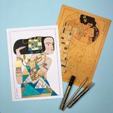 Golden Girls inspired by Gustav Klimt (coloring pages, art