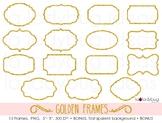 Golden glitter frames. 15 golden frames clip art. PNG files.