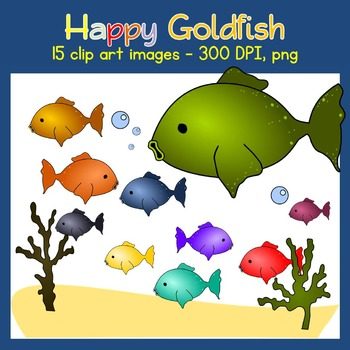 Goldfish Clip Art - Ocean - Sea Weed, Sand, Fishes - Commercial Use {Creative-C}