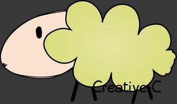Sheep Clip Art - Farm - Sheep, Grass, Fence, Tree - Commercial Use {Creative-C}