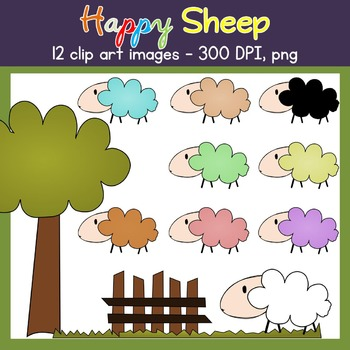 Sheep Clip Art - Farm - Sheep, Grass, Fence, Tree - Commercial Use {Creative-C}
