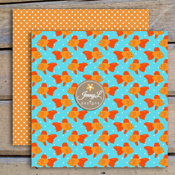 Goldfish Digital Papers and Clipart SET