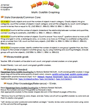 Goldfish Math Lesson Plan - Common Core/TN TEAM Model