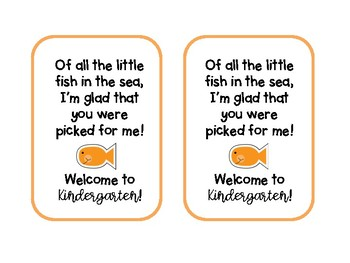 Goldfish Welcome to K-5th Grade Note