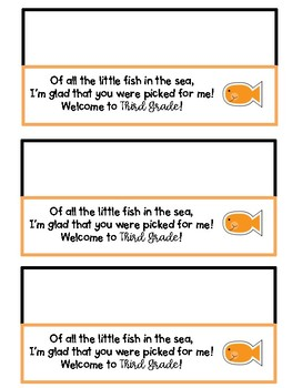 Goldfish Welcome to K-5th Grade Baggie Note