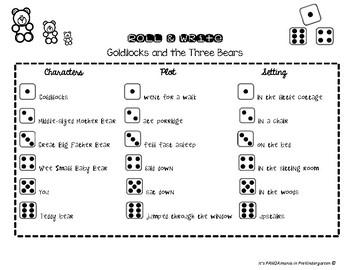 Reading Street: Goldilocks and The Three Bears Roll & Write FREEBIE