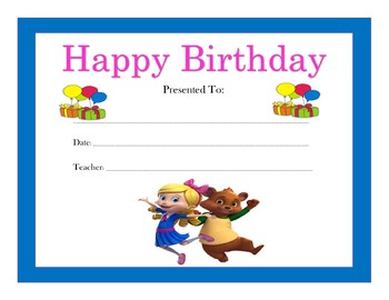 Goldie and Bear Birthday Certificates (Includes 4 Certificates)
