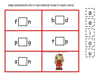 Goldilocks themed CVC #1 preschool homeschool vowel activity.  Phonics.