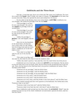 Goldilocks & 3 Bears: ESL Reading and Writing for Too and Enough