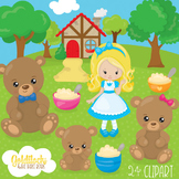 Goldilocks 3 bears clipart commercial use, vector graphics, digital  - CL1049