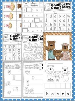 Goldilocks Math & Literacy Activities {Fairy Tales}