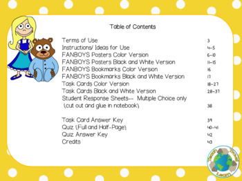 Goldilocks Join Sentences with Coordinating Conjunctions (FANBOYS) Task Cards