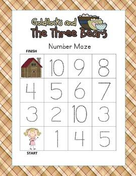 Goldilocks Kindergarten Common Core Leveled Number Tracing Mazes (3 Total)