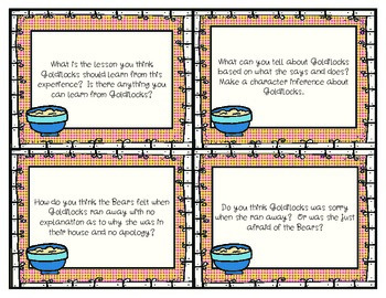 Goldilocks Questioning Cards to use with Post-It Notes!