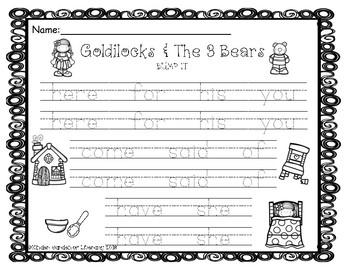 Sight Words Goldilocks & The 3 Bears-Bump It!
