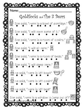 Reading with Dots Goldilocks & The 3 Bears