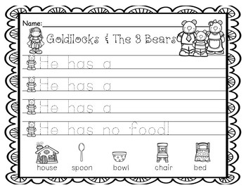 Writing Goldilocks & The 3 Bears-Sentence Starters