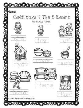 Goldilocks & The 3 Bears-Write the Room 2