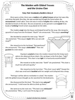 Goldilocks Vocabulary Builders Grades 4-6