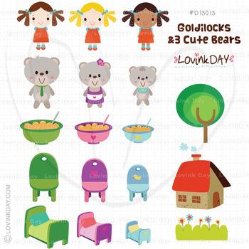 Goldilocks and 3 Cute Bears Clip Art Set D13013