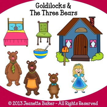 Goldilocks and The Three Bears Inspired Clip Art by Jeanette Baker