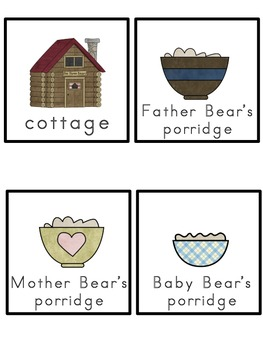 Goldilocks and The Three Bears Picture Word Bank and Picture Cards