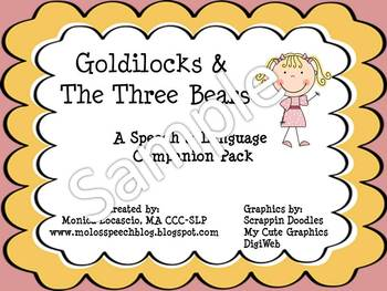 Goldilocks and The Three Bears Speech and Language Companion Pack