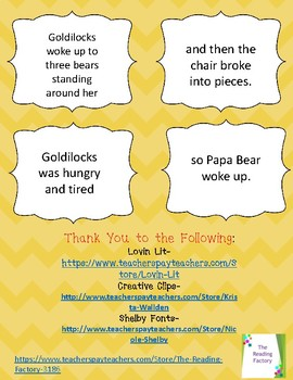 Goldilocks and Three Bears Cause and Effect Statements