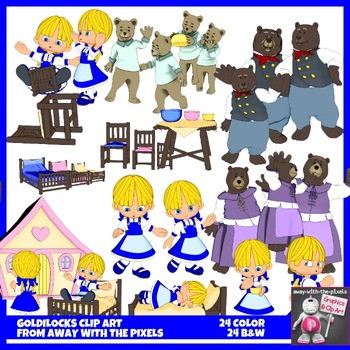 Goldilocks and Three Bears Clip Art - 25 Color and Black & White Images