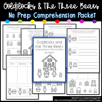 Goldilocks and the 3 Bears - Comprehension Pack