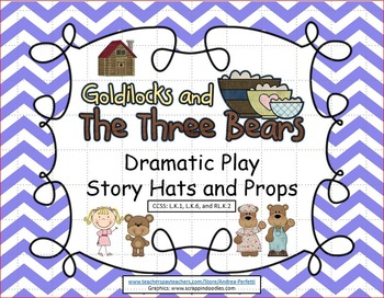 Goldilocks and the 3 Bears: Dramatic Play Story Hats and Props