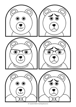 Goldilocks and the 3 Bears  -  Stick Puppet Templates (black and white)